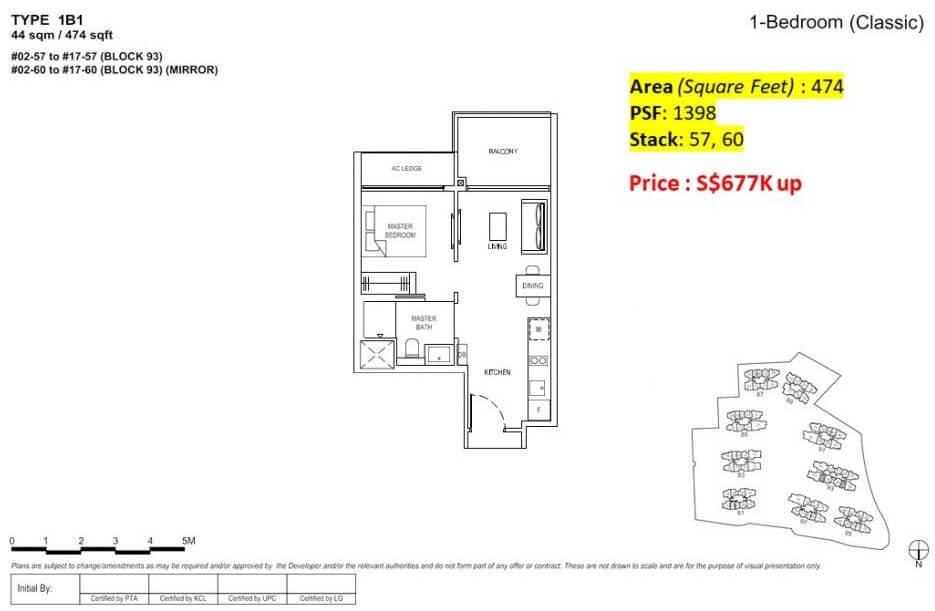 Florence Residences Floor Plan 1 Bedroom