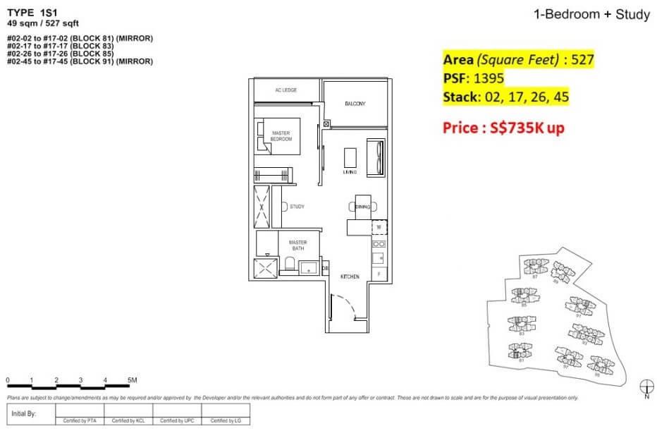Florence Residences Floor Plan 1 Bedroom + study