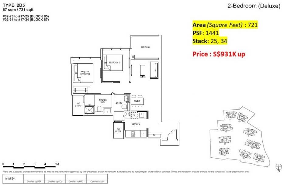 Florence Residences Floor Plan 2 Bedroom + 2 bath