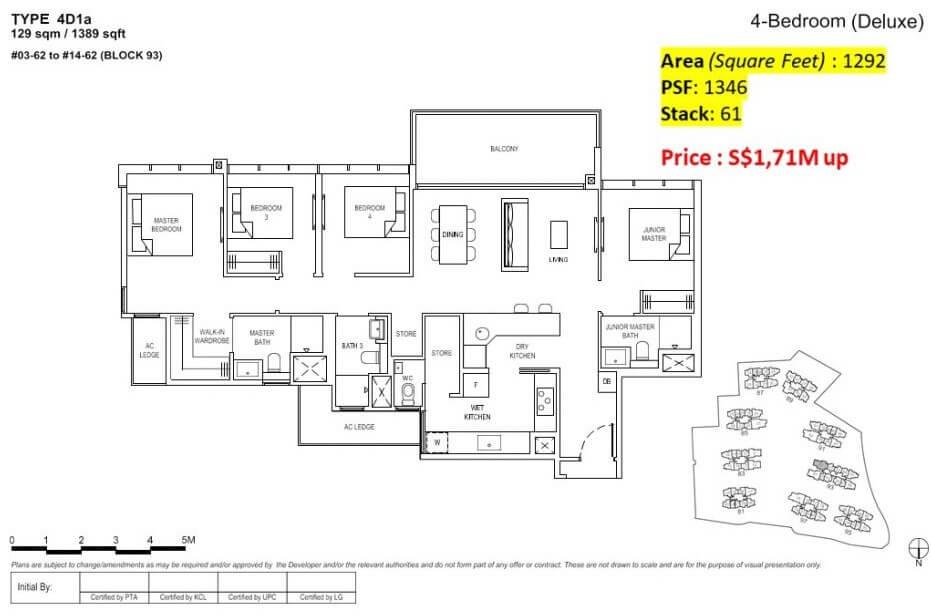Florence Residences Floor Plan 4 Bedroom + jr master bedroom