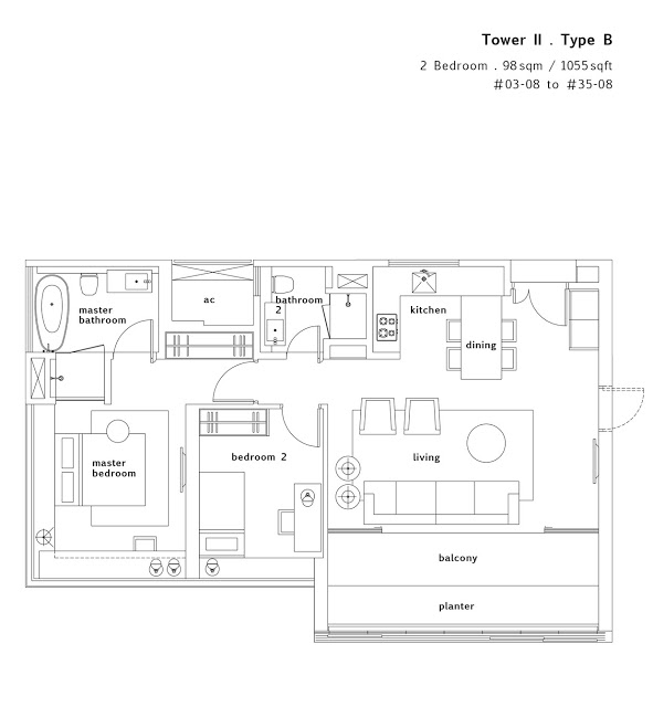 Condo- Twin Peaks 2 bedroom floor plans
