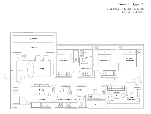 Condo- Twin Peaks 3 bedrooms floor plans 1