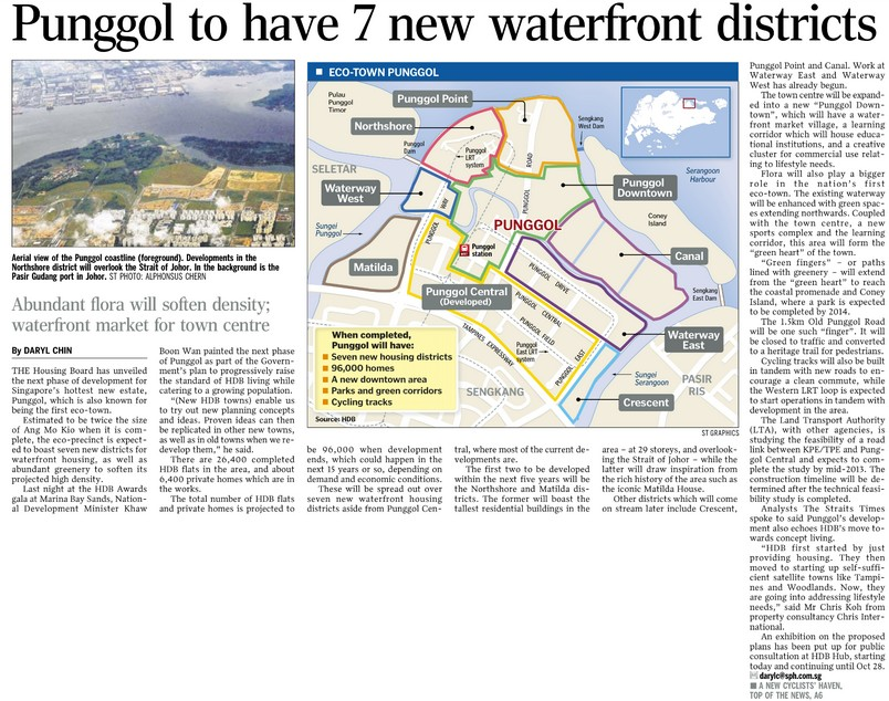 Punggol to have 7 new waterfront districts